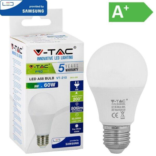LED-lamppu E27 9W 4000K 806LM A58