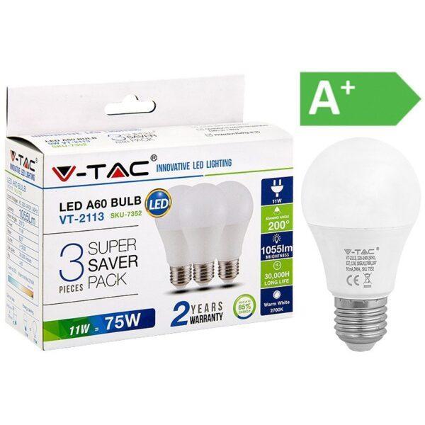 LED-lamppu E27 11W 2700K 1055LM A60 3KPL PKT