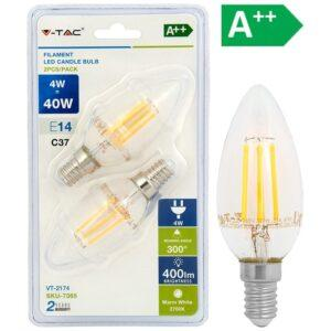 LED-lamppu 4W E14 2700K 400LM kynttilä FILA 2 KPL