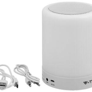 V-TAC Pöytävalaisin kaiuttimella LED RGB 3000K ladattava, himmentyvä, eri värejä