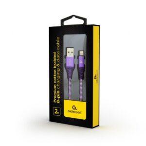 Punottu Lightning - USB kaapeli, 2.0 m, lila, Cablexpert pakkaus
