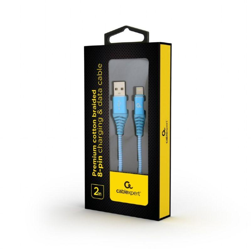 Punottu Lightning - USB kaapeli, 2.0 m, turkoosi, Cablexpert pakkaus