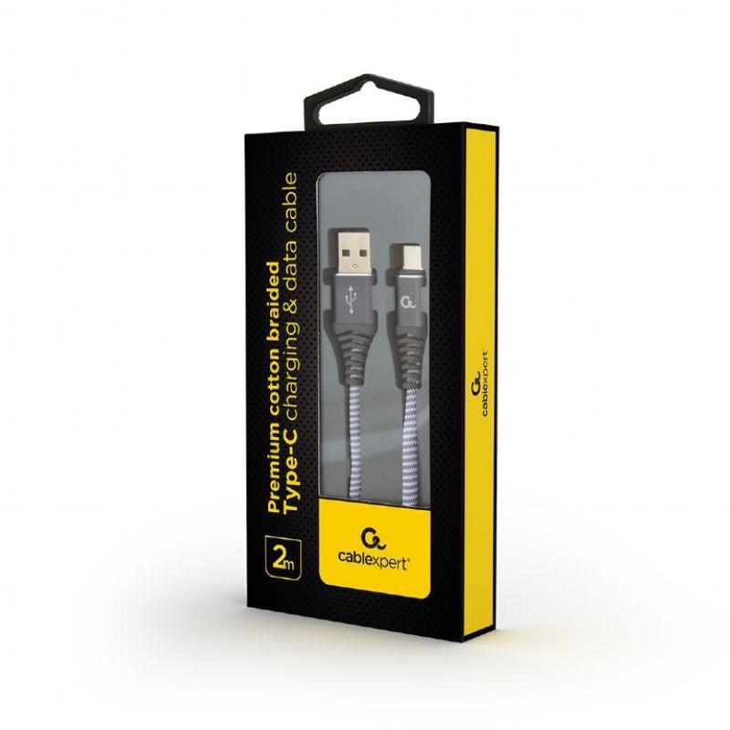 Punottu MicroUSB - USB kaapeli, 2.0 m, harmaa, Cablexpert pakkaus