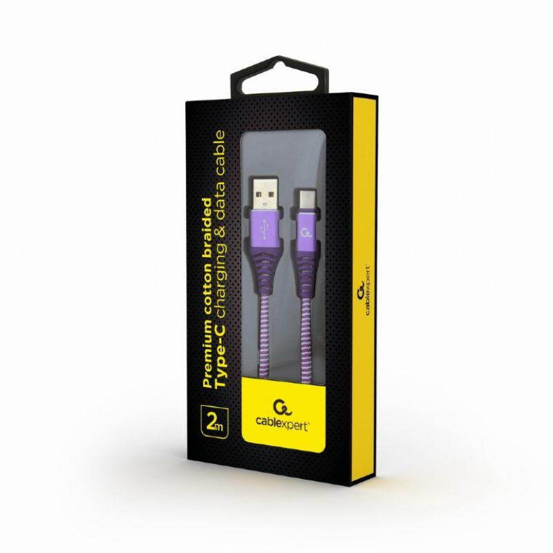 Punottu MicroUSB - USB kaapeli, 2.0 m, lila, Cablexpert paketti