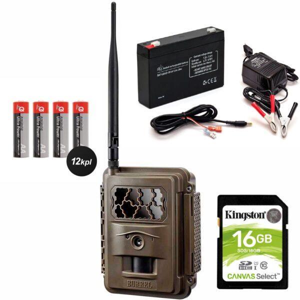 Burrel S12 HD+SMS 3 - sis. 16GB muistikortti + Akkupaketin laturilla + 12kpl paristoja