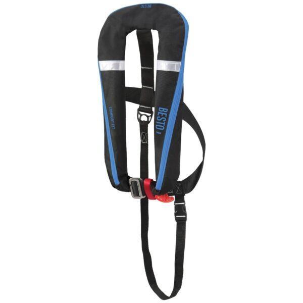 BESTO Comfort fit paukkuliivi 50+, 165N. Automaatti, valjailla Musta/Sininen