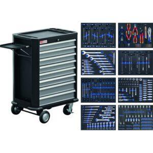 Työkaluvaunu työkaluilla BGS 296 työkalua ja 8 laatikkoa
