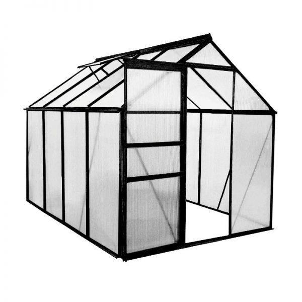 Kasvihuone 4,8 m² + sokkeli, Green Land, musta alumiinirunko