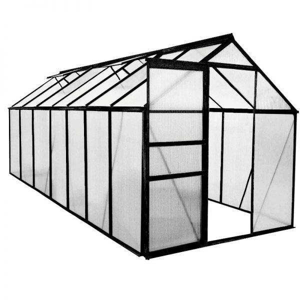 Kasvihuone 8,2 m² Green Land, musta alumiinirunko